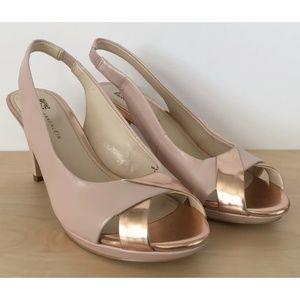 ANNE KLEIN Pink Open Peep Toe Slingback Heels 6.5